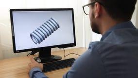 Ingeniero, constructor, dise?ador en el funcionamiento de vidrios en un de computadora personal ?l es el crear, dise?ando un nuev almacen de metraje de vídeo