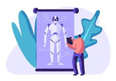 Ingeniero Create Robot Tecnología futurista del mecanismo de la inteligencia artificial Mirada innovadora Hombre que mira en la  libre illustration