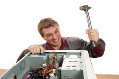 Ingeniero de ayuda de ordenador Imagen de archivo libre de regalías