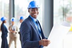 Ingeniero de construcción africano Imagen de archivo libre de regalías