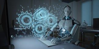 Ingeniero de desarrollo Humanoid del robot stock de ilustración