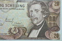 Ingeniero de ferrocarril de Carl Ritter Ghega en billete de banco del austriaco de 20 chelines Imagen de archivo libre de regalías