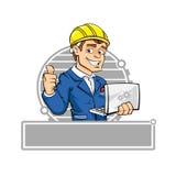 Ingeniero de la historieta con el cuaderno Imágenes de archivo libres de regalías