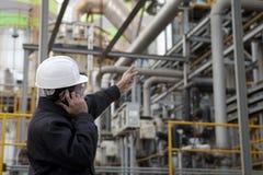 Ingeniero de la refinería de petróleo Imágenes de archivo libres de regalías