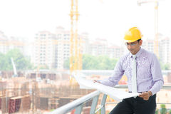 Ingeniero de sexo masculino indio del contratista Imagen de archivo