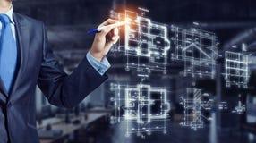 Ingeniero del hombre en el trabajo Técnicas mixtas Foto de archivo libre de regalías