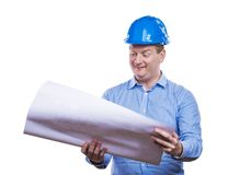 Ingeniero en casco azul Imágenes de archivo libres de regalías