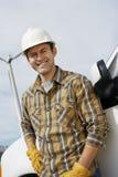 Ingeniero feliz At Wind Farm Foto de archivo