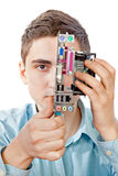 Ingeniero informático joven Imagen de archivo