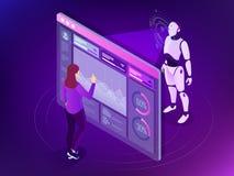 Ingeniero isométrico del mantenimiento que trabaja con el indicador digital Concepto de programación del robot Inteligencia artif ilustración del vector