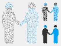 Ingeniero Persons Handshake Vector Mesh Wire Frame Model e icono del mosaico del triángulo ilustración del vector