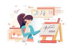 Ingeniero plano del artista de la mujer joven con los dibujos, los gráficos y el equipo del trabajo ilustración del vector