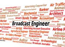 Ingeniero Represents Employee Text de la difusión y trabajos Imagen de archivo libre de regalías