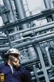 Ingeniero y petróleo y industria petrolera Fotos de archivo libres de regalías