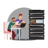 Ingenieros informáticos de la historieta que trabajan con el servidor libre illustration