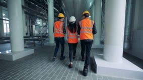 Ingenieros que caminan en una instalación de la cervecería, visión trasera almacen de metraje de vídeo