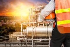 Ingenieurübersicht der Ölraffinerie Lizenzfreie Stockbilder