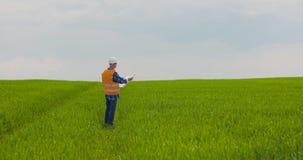Ingenieur Analyzing Plan While die Landbouwbedrijf bekijken stock videobeelden
