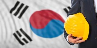 Ingenieur auf einem Südkorea-Flaggenhintergrund Abbildung 3D Lizenzfreies Stockfoto