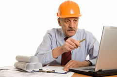 Ingenieur bij de computer Stock Foto