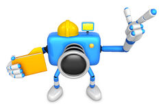 Ingenieur Blue Camera Character op de linkerholding in folde Stock Fotografie