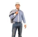 Ingenieur Carrying Coat auf der Schulter, die Kamera schaut Stockbild