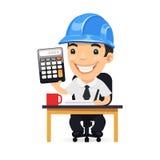 Ingenieur Cartoon Character met Calculator Stock Afbeelding