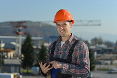 Ingenieur an der Baustelle Stockfotos