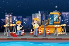 Ingenieur die de weg herstellen royalty-vrije illustratie