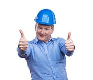 Ingenieur im Blauhelm Stockbild