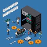 IT Ingenieur Isometric Compoisition Stock Afbeeldingen