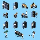IT Ingenieur Isometric Set Royalty-vrije Stock Afbeeldingen