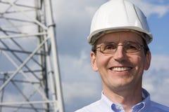 Ingenieur met bouwvakker Stock Foto's