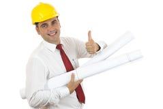Ingenieur met omhoog duim Stock Afbeeldingen