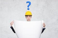 Ingenieur mit vielen Fragen Lizenzfreie Stockfotos