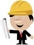 Ingenieur oder Architekt mit Sturzhelm und Lichtpausen lizenzfreie abbildung
