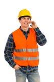 Ingenieur op de telefoon. Stock Foto's