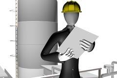 Ingenieur op industriële plaats Stock Foto's