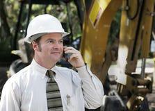 Ingenieur op Telefoon Stock Foto