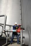 Ingenieur, Rohrleitungen Schmieröl und Gas Stockfotos