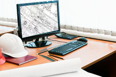 Ingenieur `s Arbeitsplatz Stockfotos