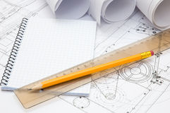 Ingenieur `s Arbeitsplatz lizenzfreie stockfotos