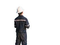 Ingenieur of Technicus in witte helm, glazen en het blauwe werken Stock Foto's