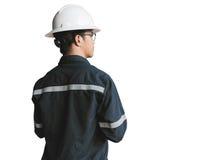 Ingenieur of Technicus in witte helm, glazen en het blauwe werken Royalty-vrije Stock Foto