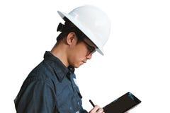 Ingenieur of Technicus in witte helm, glazen en het blauwe werken Royalty-vrije Stock Fotografie