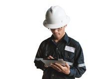 Ingenieur of Technicus in witte helm, glazen en het blauwe werken Stock Afbeelding
