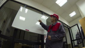 Ingenieur With Whiteboard stock footage