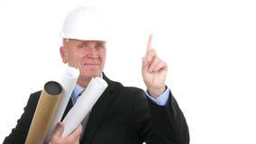 Ingenieurarchitektenlächeln und keine Hand herzustellen unterzeichnet in einem Geschäftsinterview stock video