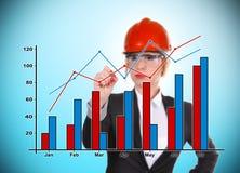 Ingenieurfrauen-Zeichnungsdiagramm Stockfotos
