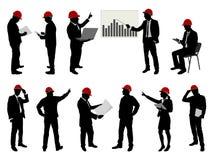 Ingenieurs aan het werk met bouwvakkers Royalty-vrije Stock Afbeelding